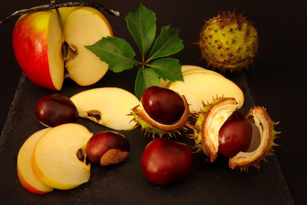 Äpfel an Kastanien